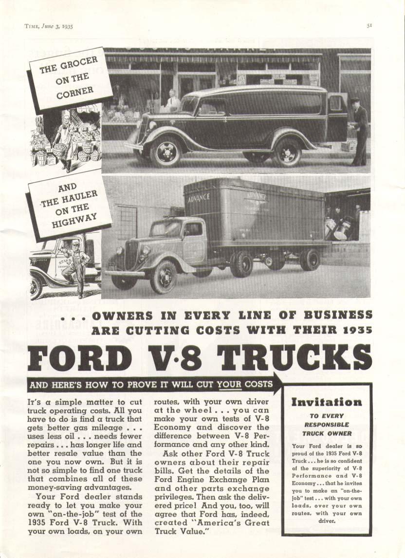Image for Ford V8 truck corner grocer highway hauler ad 1935