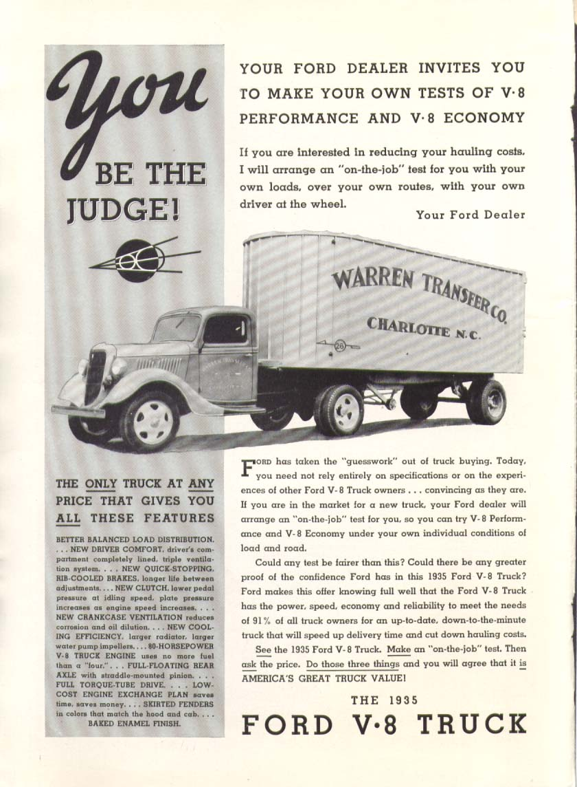 Image for Ford V8 truck You be the Judge! Warren Transfer ad 1935
