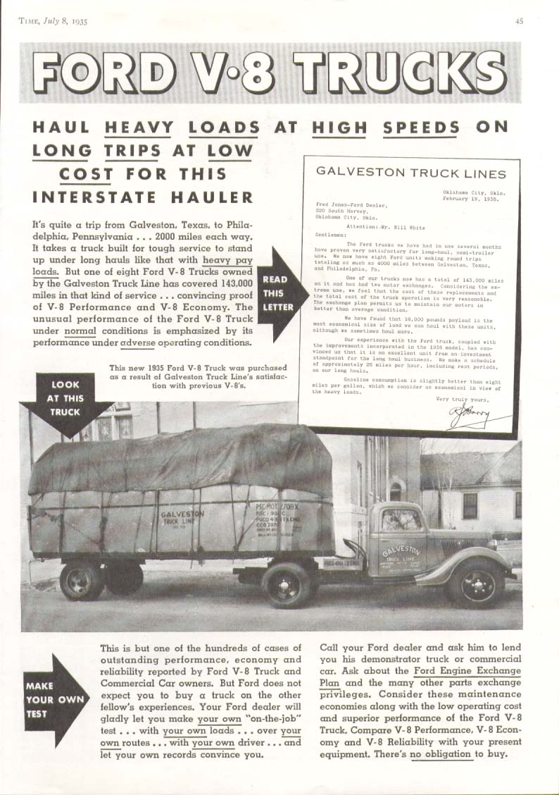 Image for Ford V8 truck Interstate Hauler Galveston Lines ad 1935