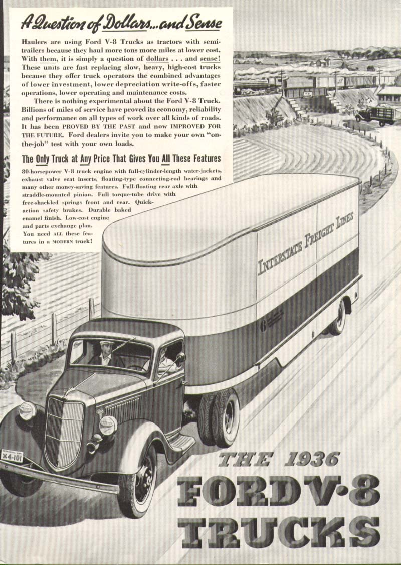Image for Ford V8 truck A Question of Dollars and Sense ad 1936