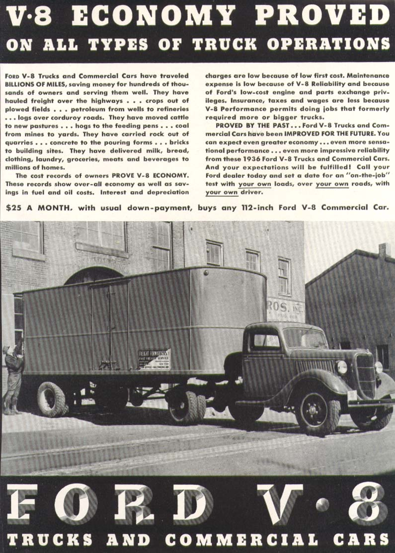 Image for Ford V8 Economy Proved truck ad 1936