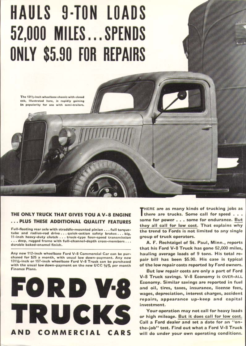 Image for Ford V8 truck hauls 9-ton loads ad 1936