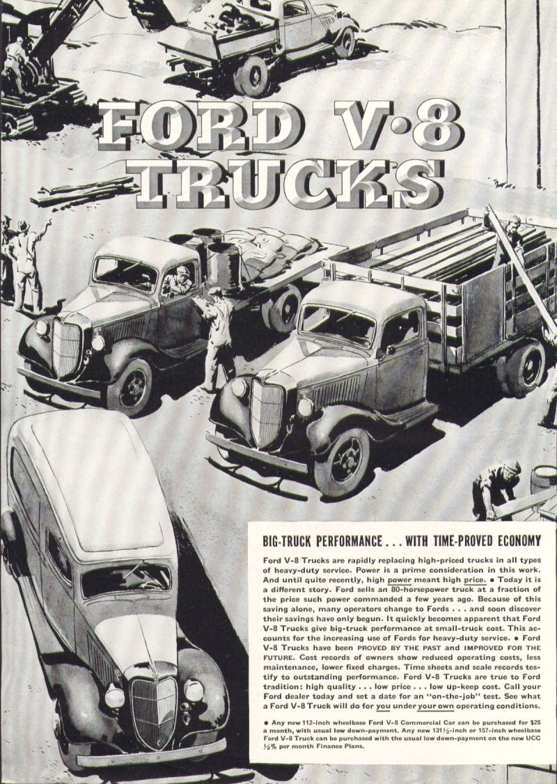 Image for Ford V8 truck Performance Economy ad 1936