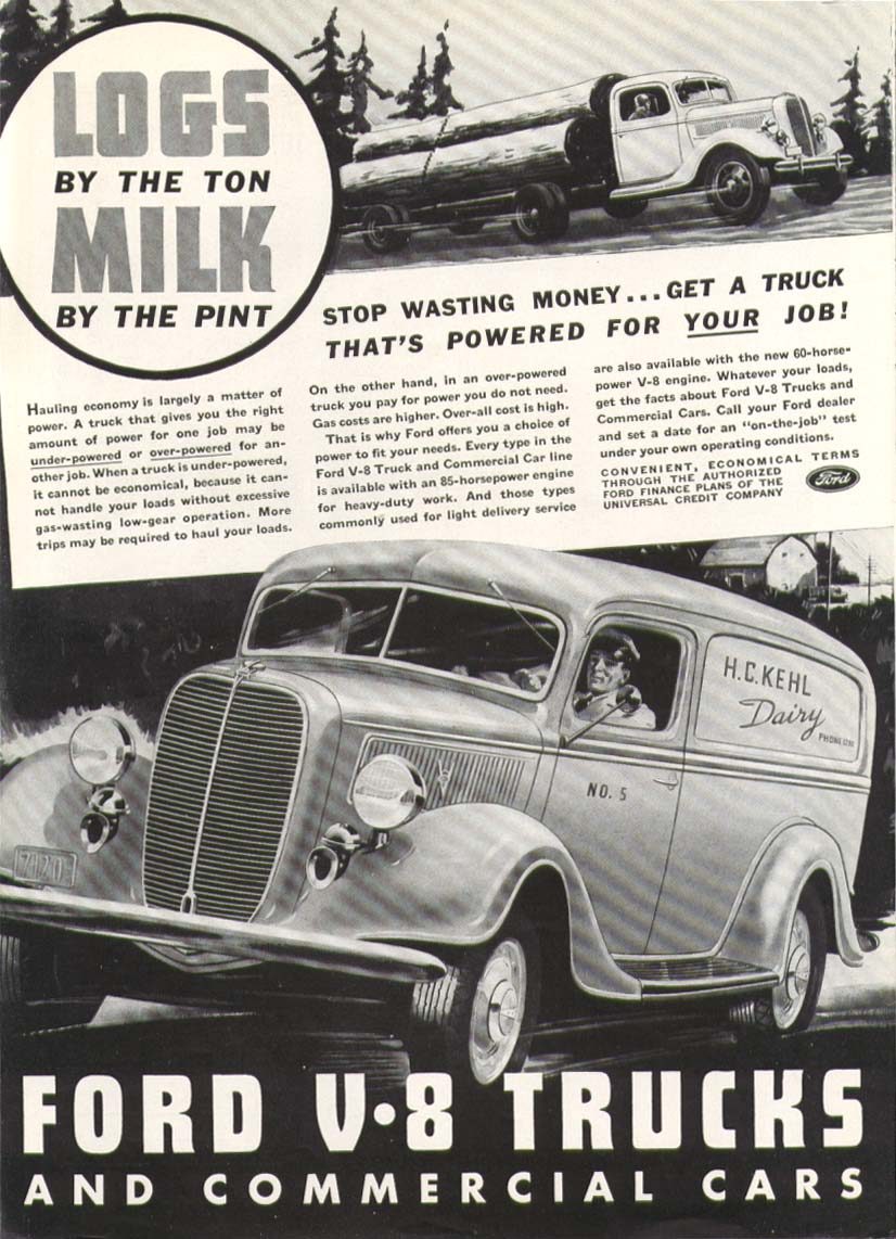 Image for Ford V8 truck Logs by the Ton Milk by the Pint ad 1937