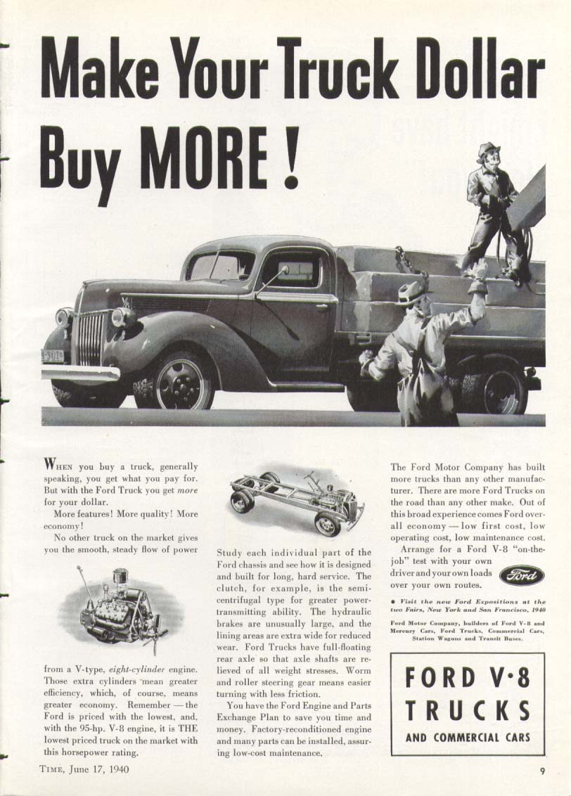 Ford Make Your Truck Dollar Buy MORE! Ad 1940