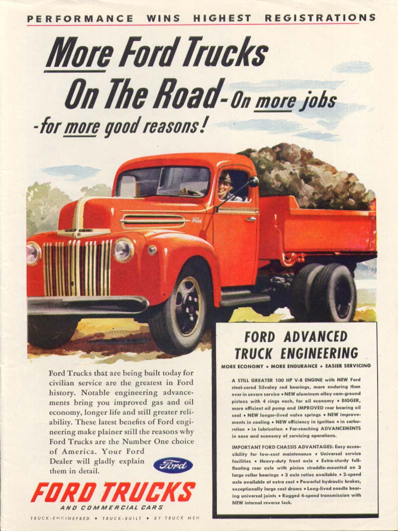 Ford dump truck More On The Road ad 1945