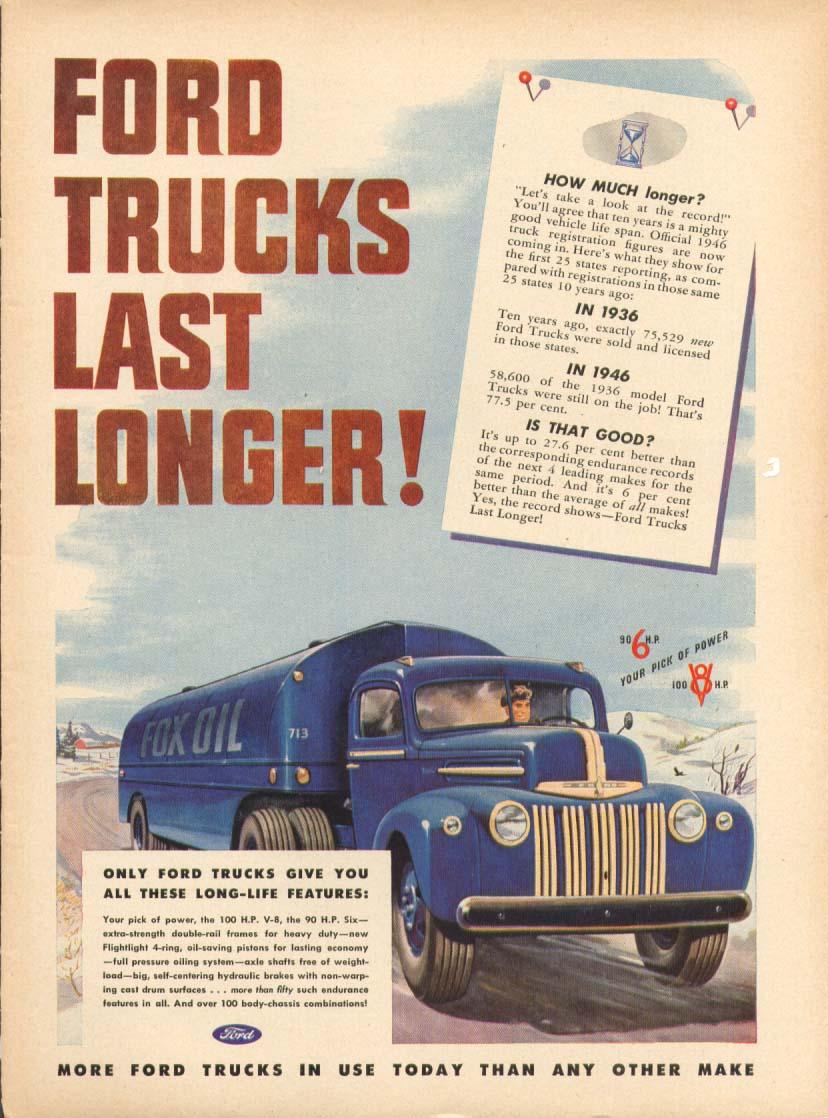Ads Ford Trucks 1948 Truck Cast S Last Longer Oil Tanker Ad 1947