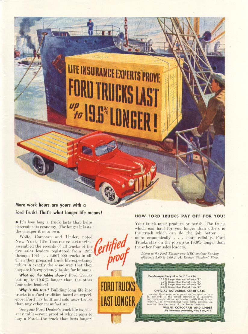 Ford flatbed truck last up to 19/6% longer ad 1947