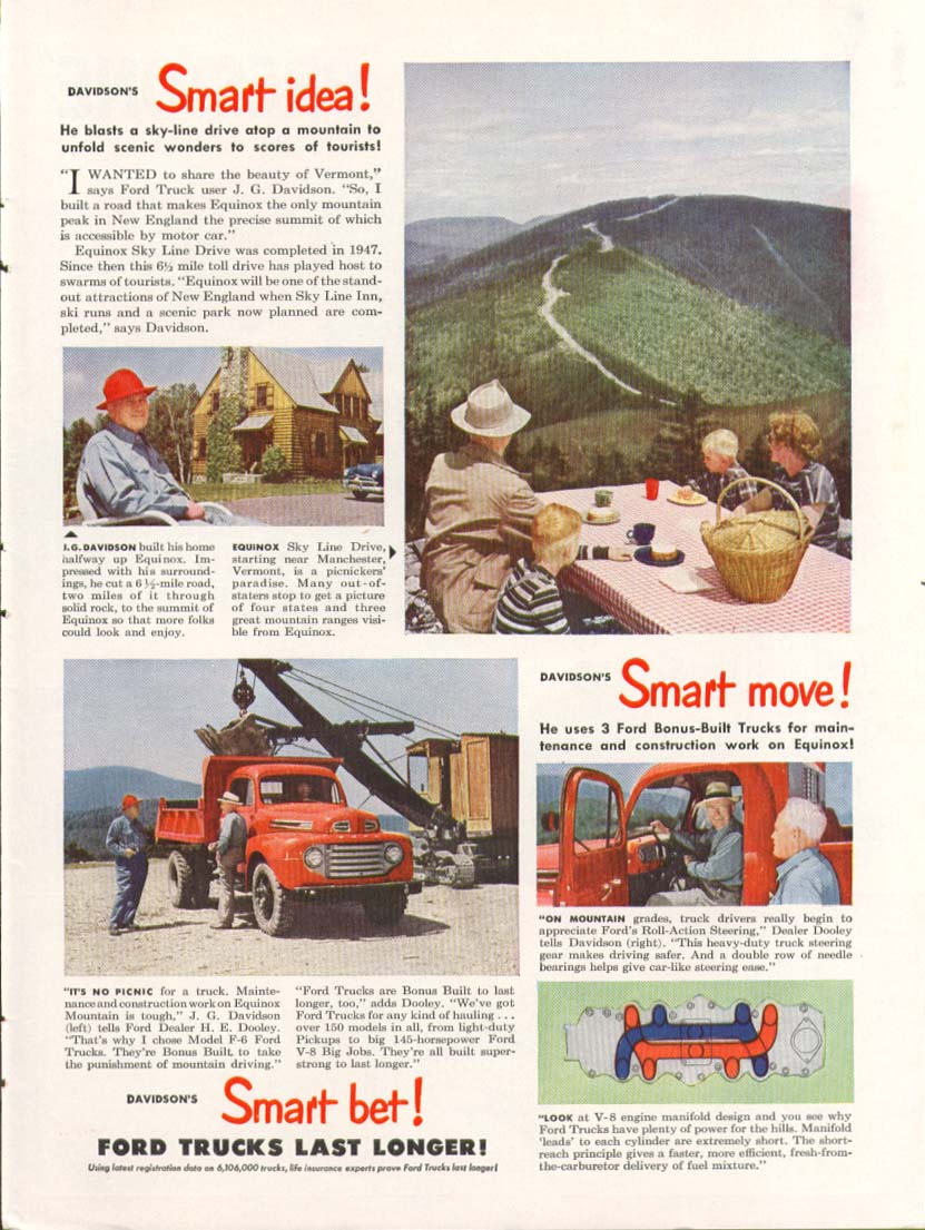 Ford F-6 truck Vermont Sky Line Inn ad 1949