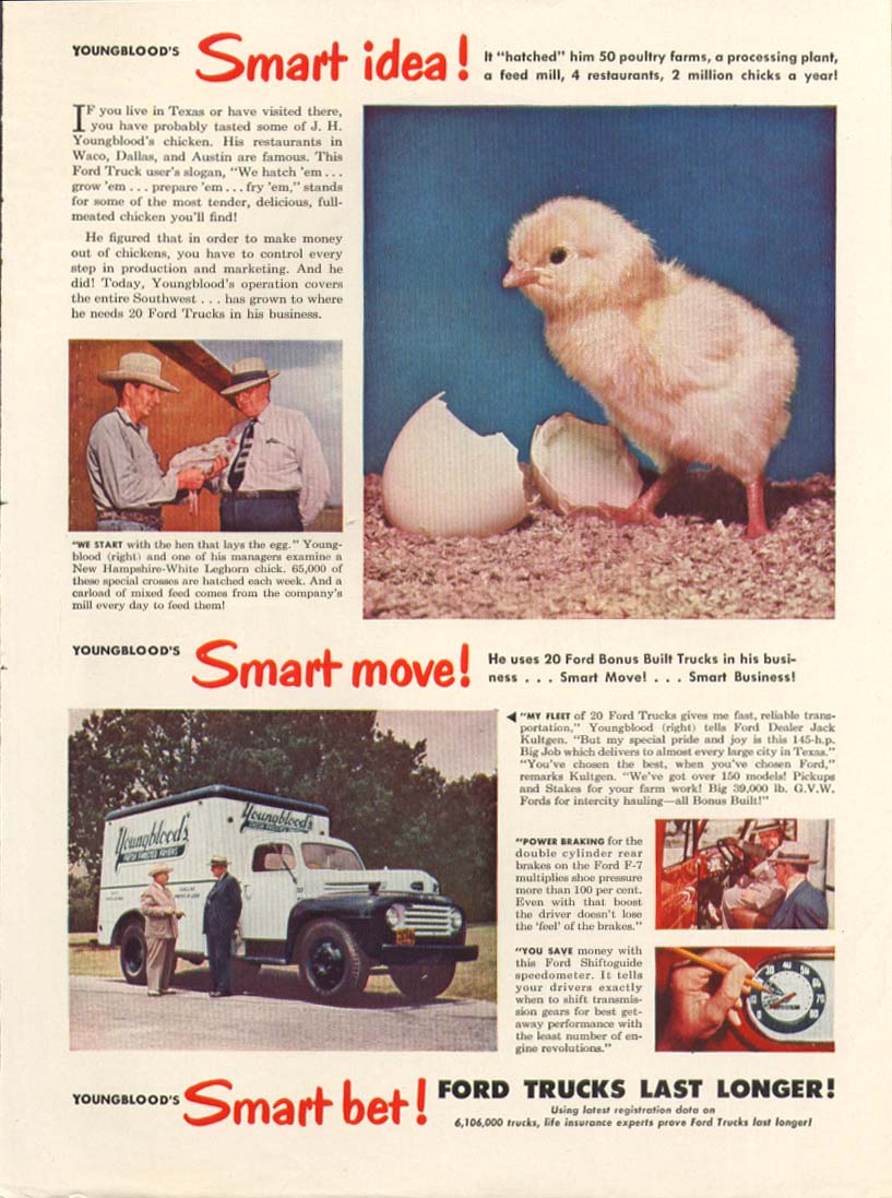 Ford F-7 truck Youngblood poultry ad 1949