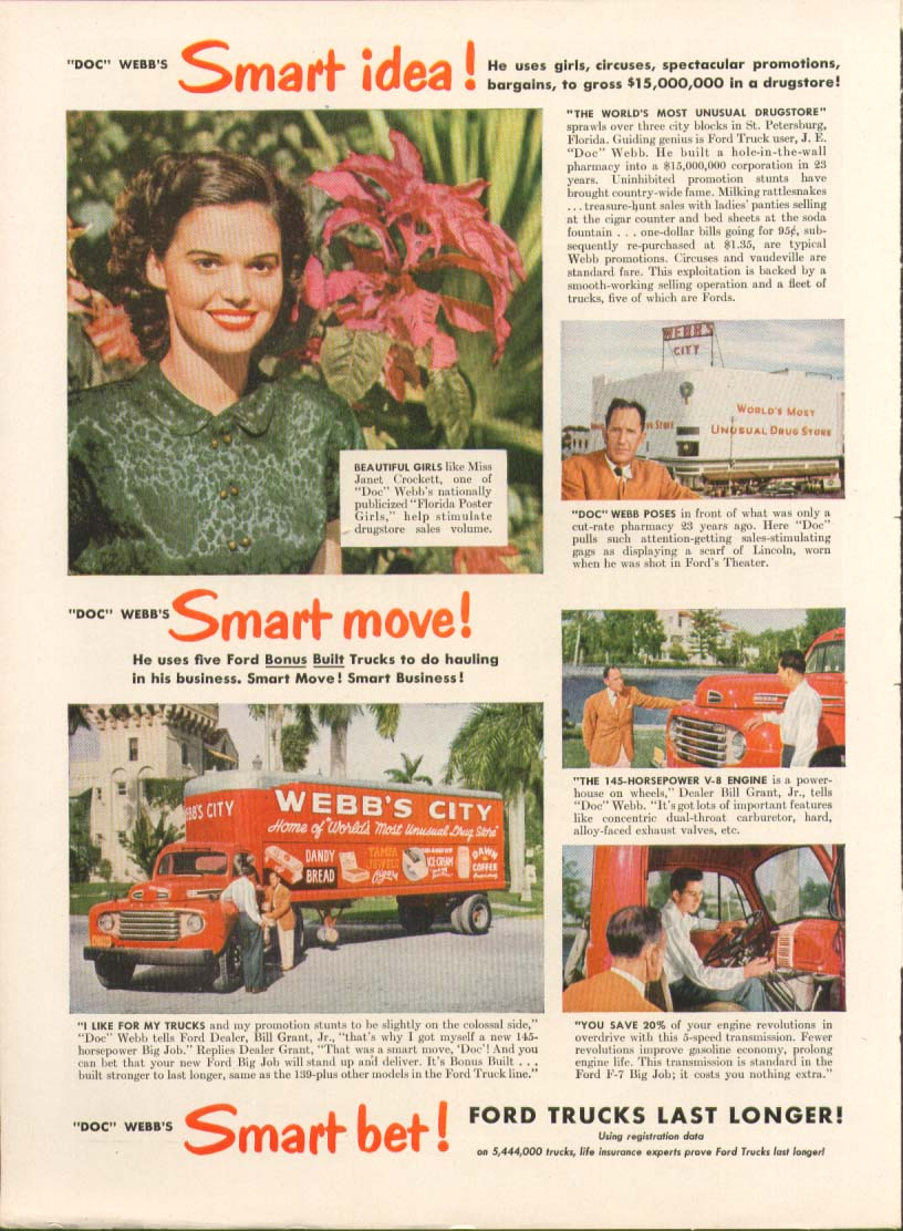 Ford F-7 Big Job truck Webb's City drug store ad 1949