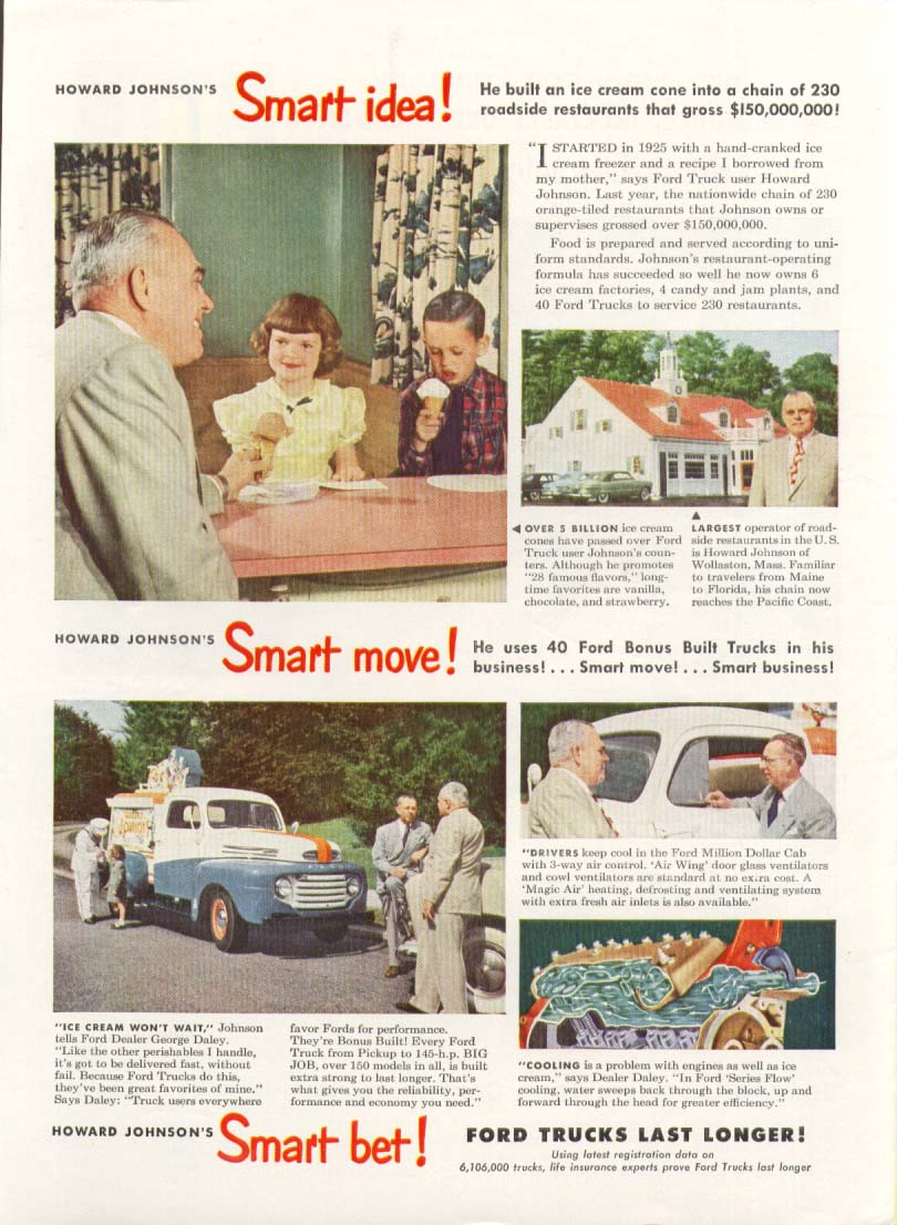 Ford truck Howard Johnson ice cream ad 1949 | eBay