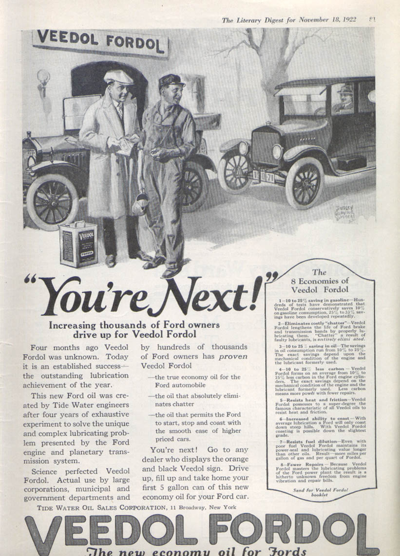 Image for You're next Veedol Fordol motor oil ad 1922