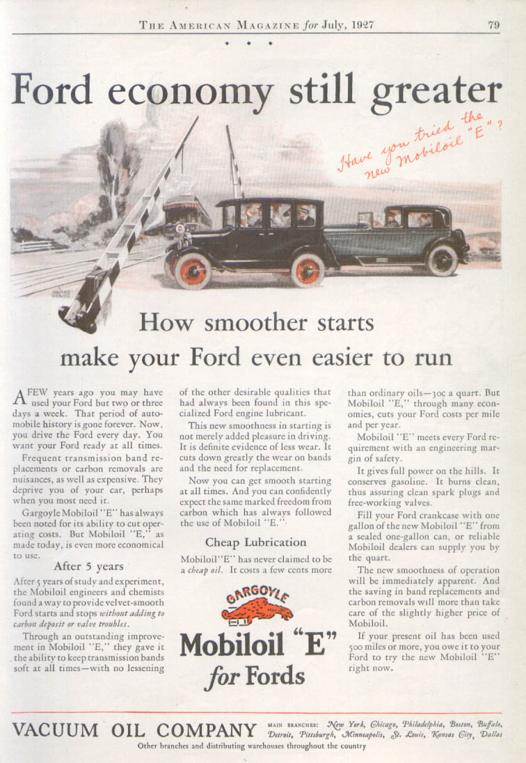 Image for Ford economy still greater Gargoyle Mobiloil E ad 1927