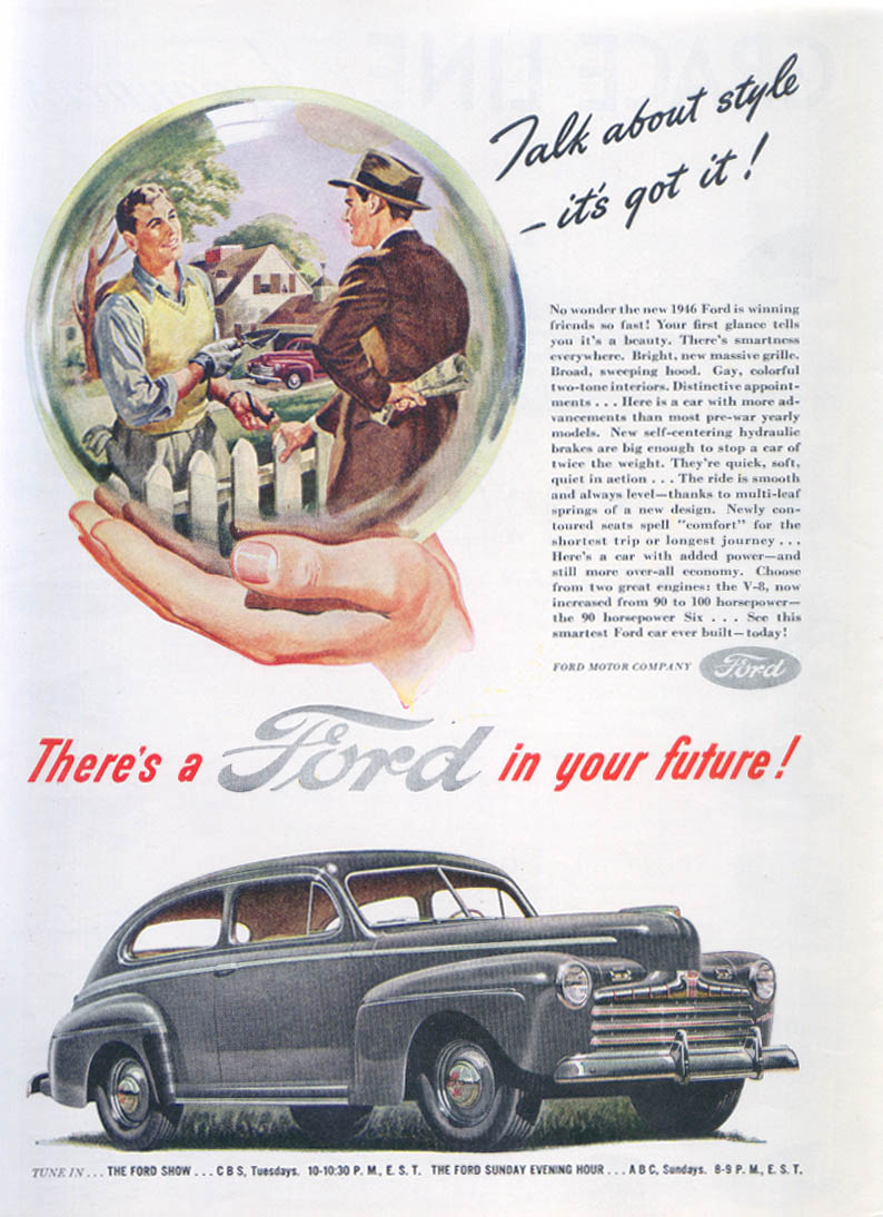 Image for Talk about style - it's got it! Ford ad 1946
