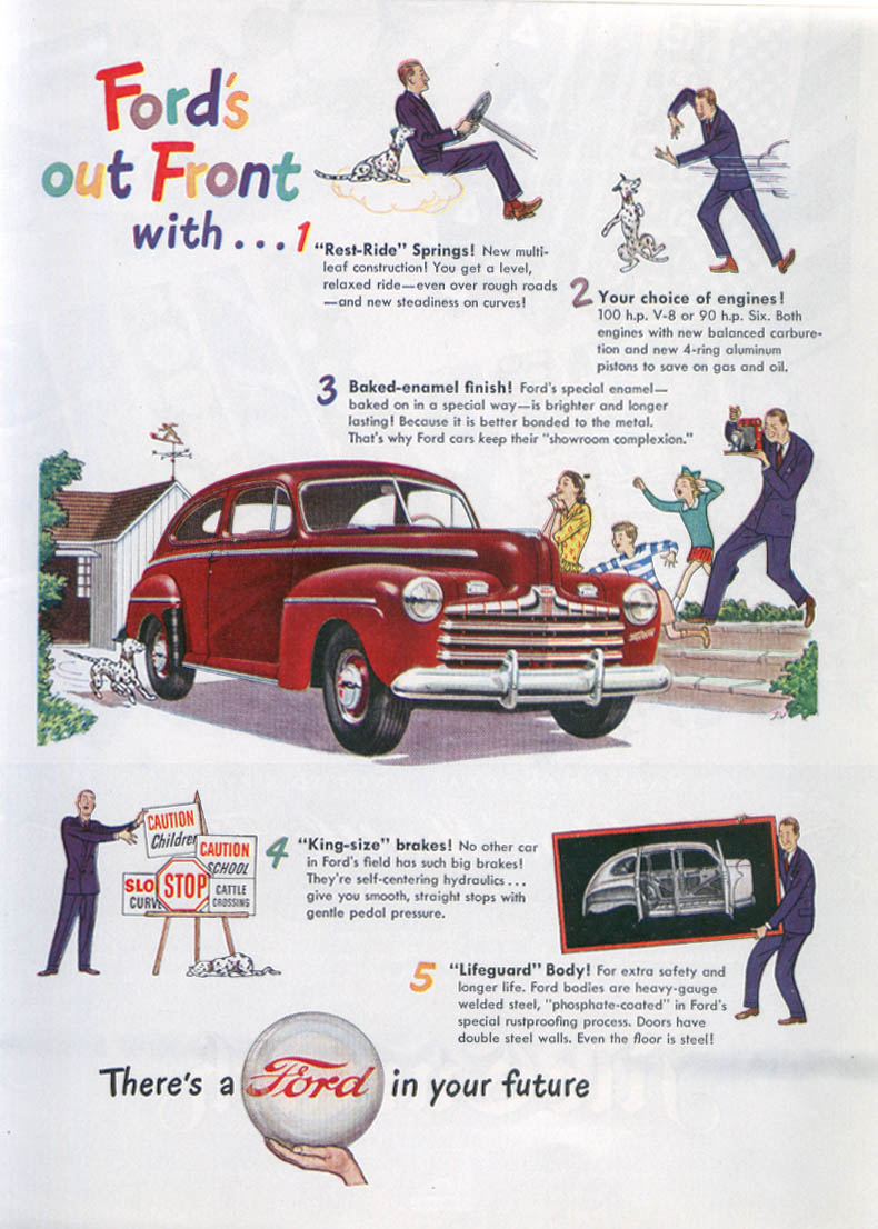Out front with Rest-Ride Springs . . . Ford ad 1946