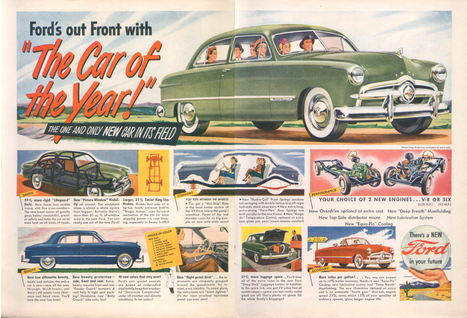 Ford's Out Front with The Car of the Year! Ford ad 1949