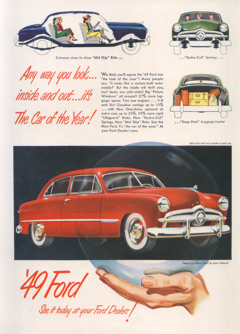 Image for Any way you look inside & out Car of Year Ford ad 1949