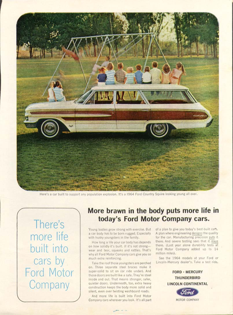 Image for Ford Country Squire more life built into cars ad 1964