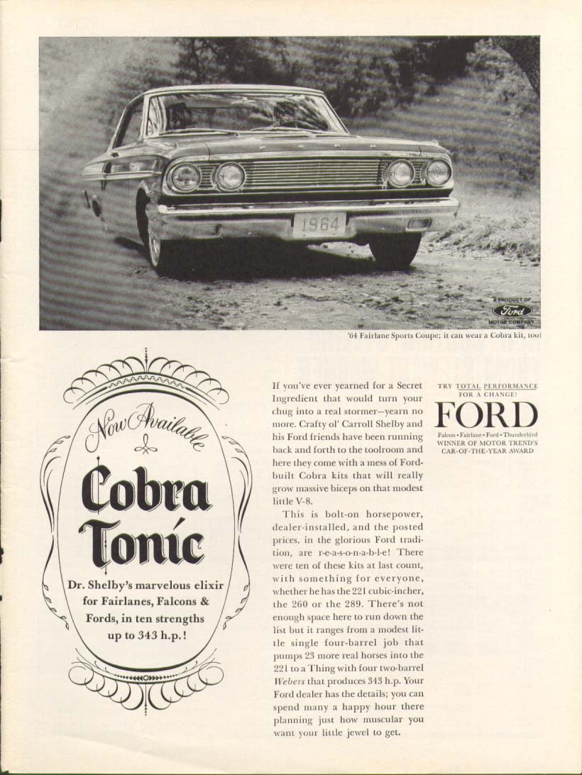 Ford Fairlane Sports Coupe Shelby Cobra Tonic ad 1964