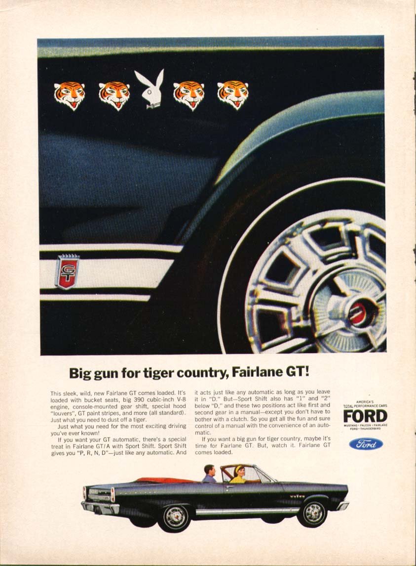 Image for Ford Fairlane GT big gun tiger Playboy bunny ad 1966