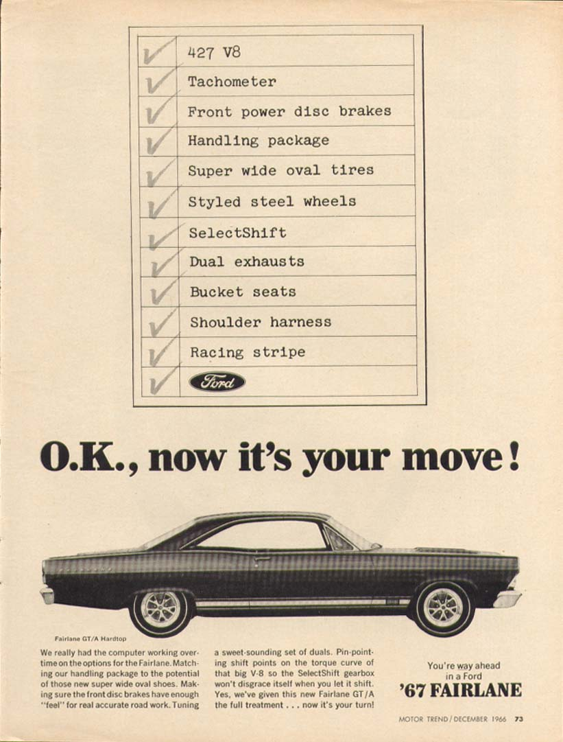 Image for Ford Fairlane GT/A now it's your move ad 1967