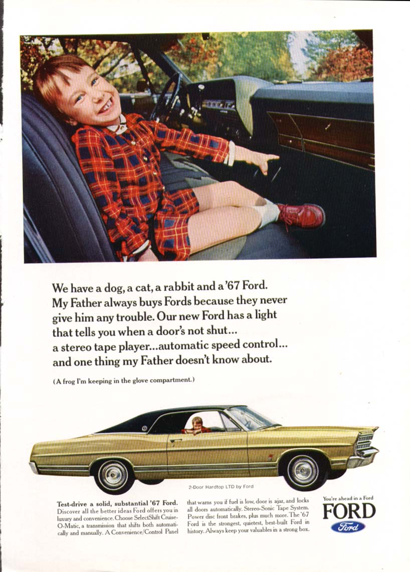 Image for Ford LTD happy kid in front seat ad 1967