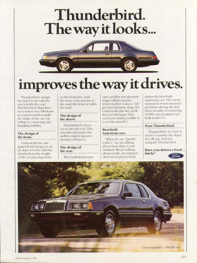Image for Ford Thunderbird its looks improve its drive ad 1984