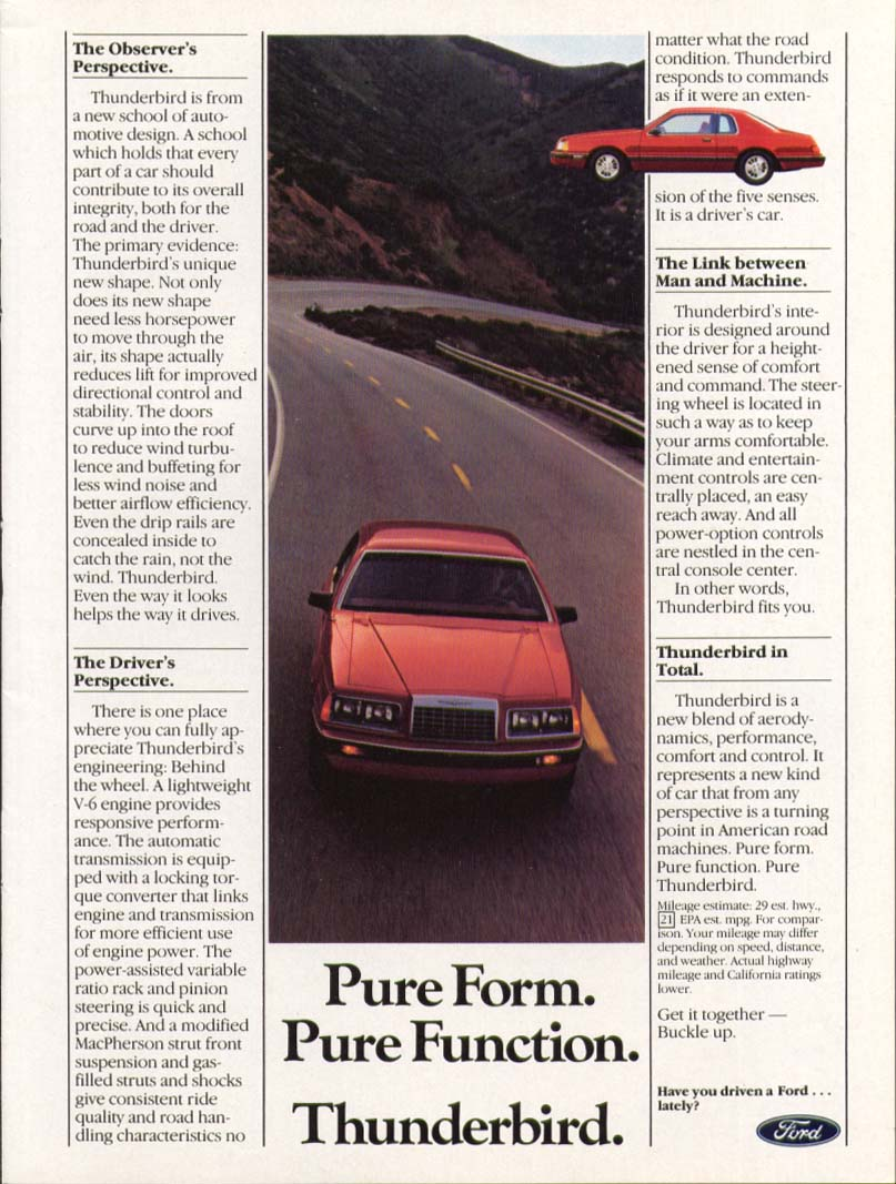 Image for Ford Thunderbird Pure Form Pure Function ad 1984