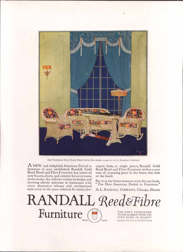 Image for Randall Gold Band Reed & Fibre Furniture ad 1923