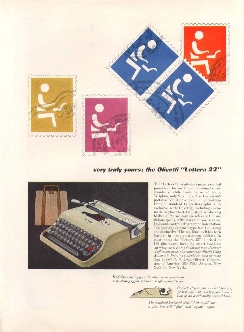 Image for Very truly yours Olivetti Lettera 22 typewriter ad 1954