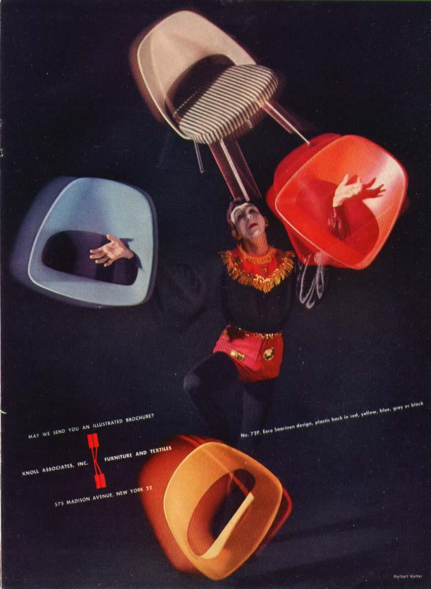 Image for Juggler with Eero Saaranen chairs Knoll ad 1956