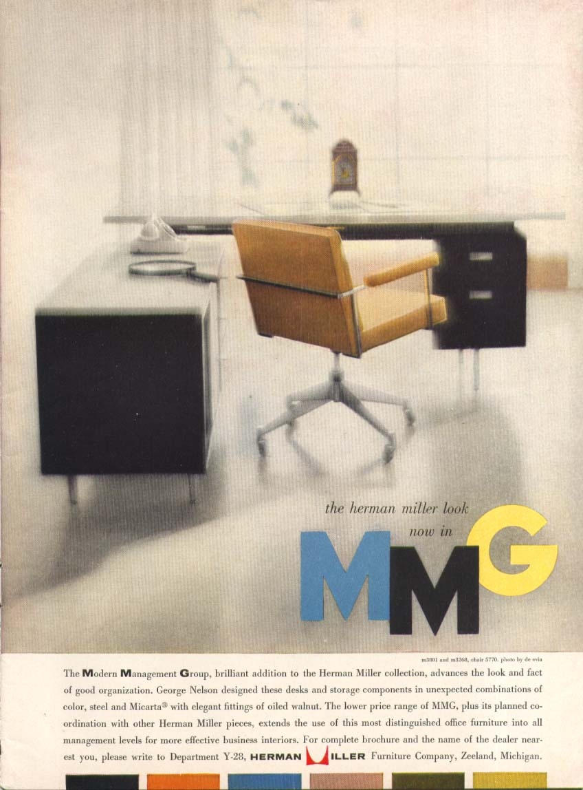 George Nelson desk & chair set Herman Miller ad 1958