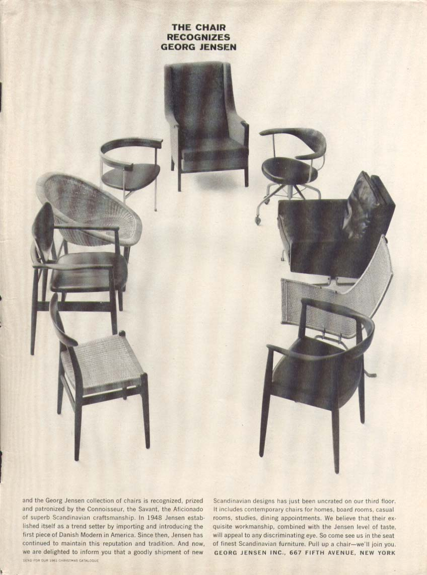 The chair recognizes Georg Jensen ad 1961