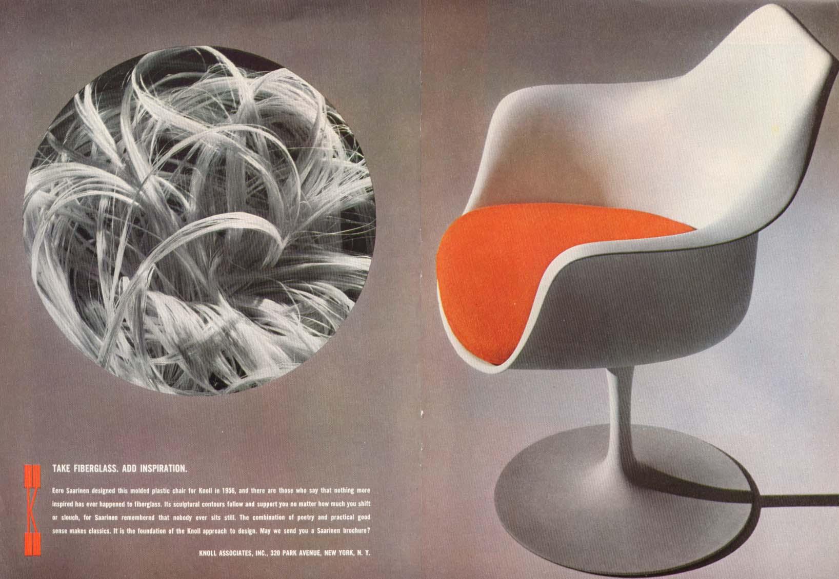 Image for Fiberglas Inspiration Eero Saaranen chair Knoll ad 1964