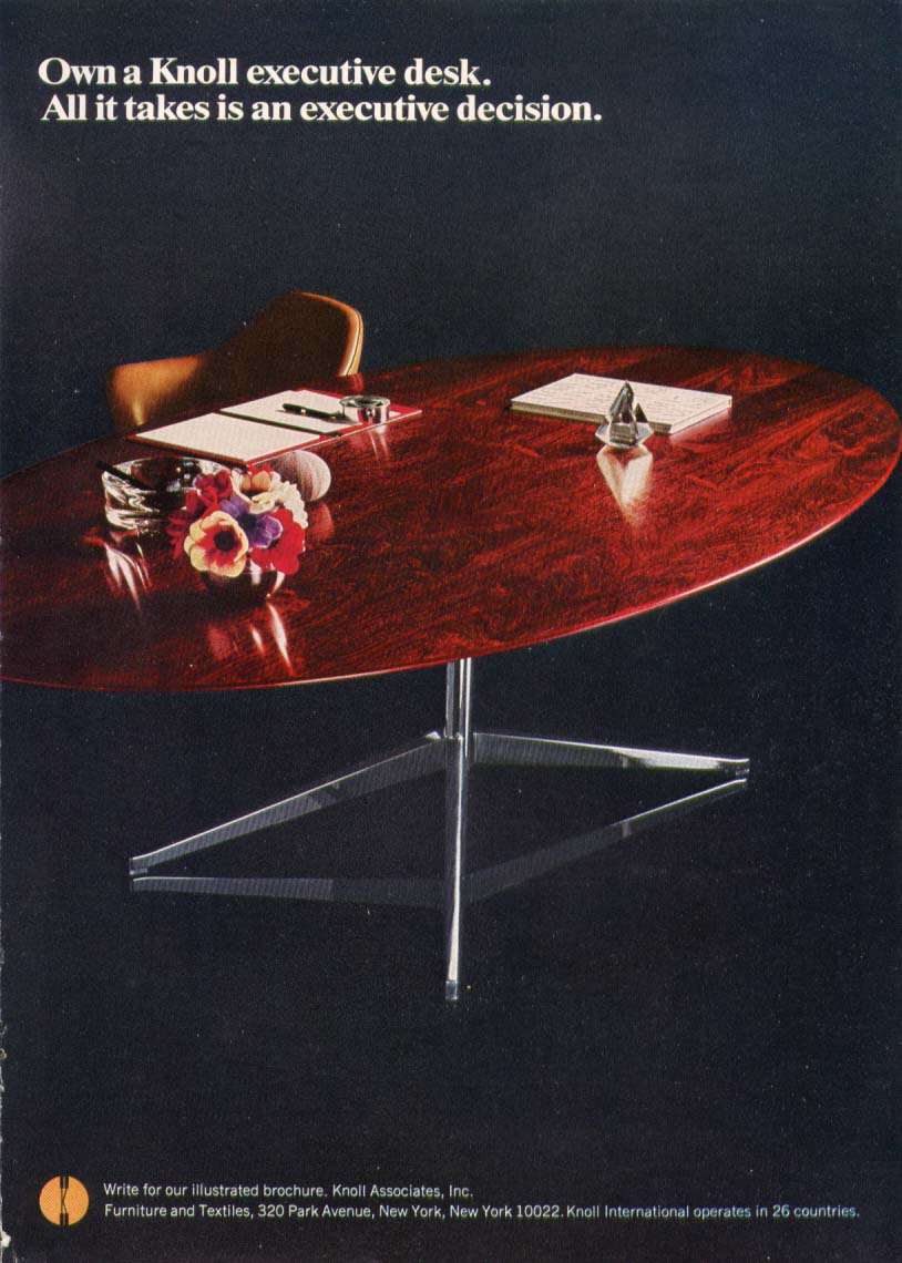 Executive decision + Knoll Executive Desk ad 1967