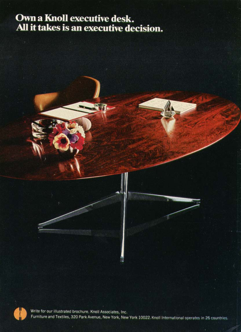 Executive decision & desk Knoll International ad 1968