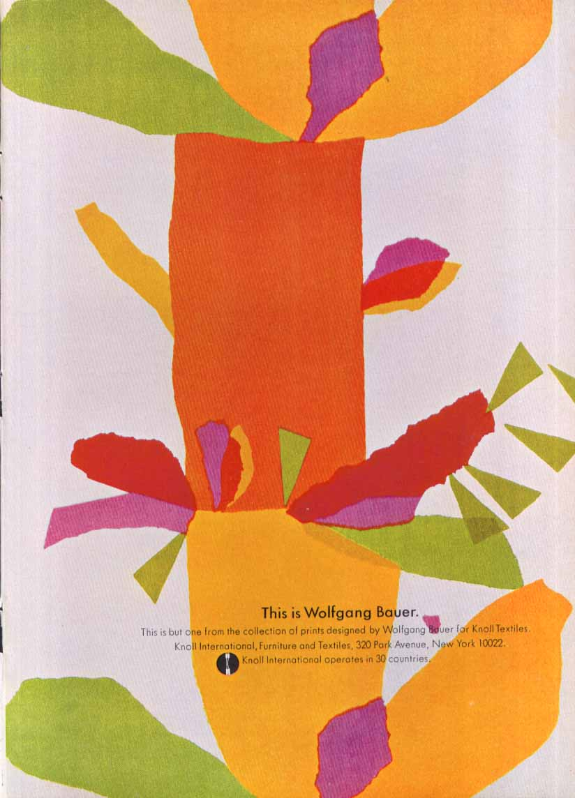 This is Wolfgang Bauer prints Knoll ad 1969