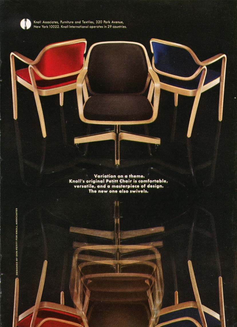 Don Petitt Chair for Knoll Associates ad 1969