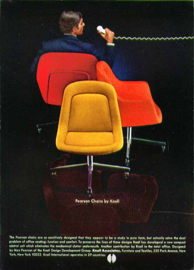 Pearson Chairs by Knoll sensitively designed in pure form ad 1969