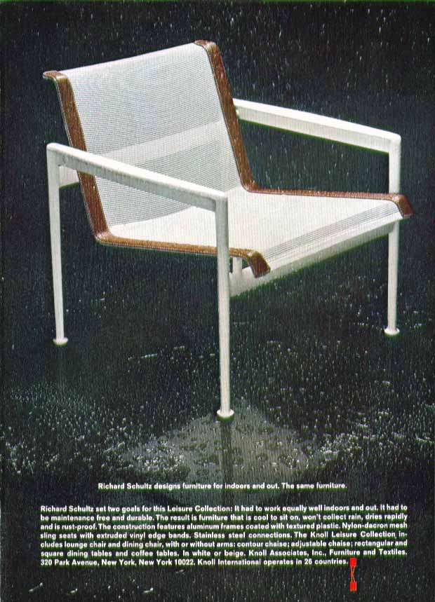 Richard Schultz designs furniture for indoors & out Knoll Associates ad 1969