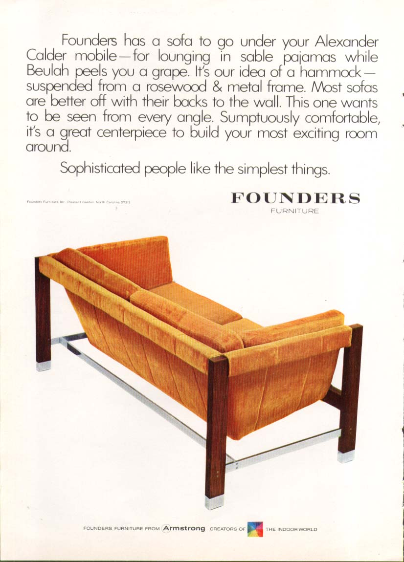 Rosewood & metal sofa by Founders ad 1970