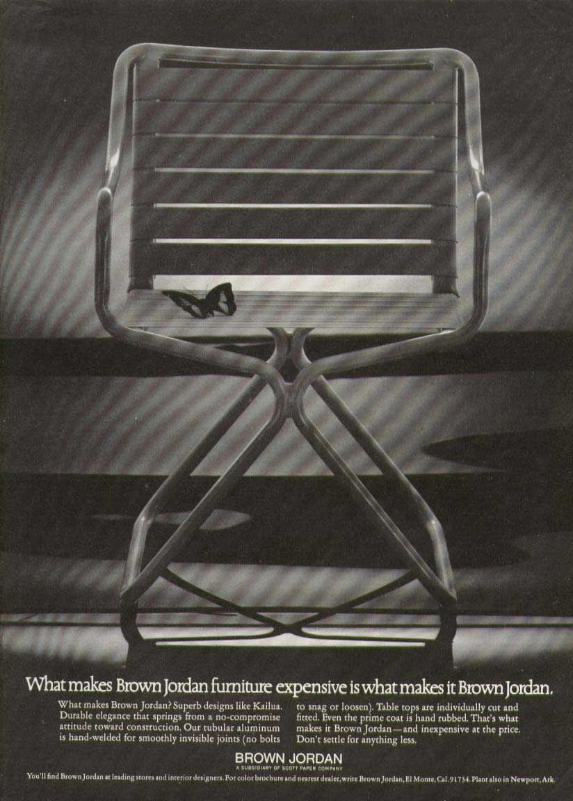 Brown Jordan Kailua tubular aluminum chair ad 1973