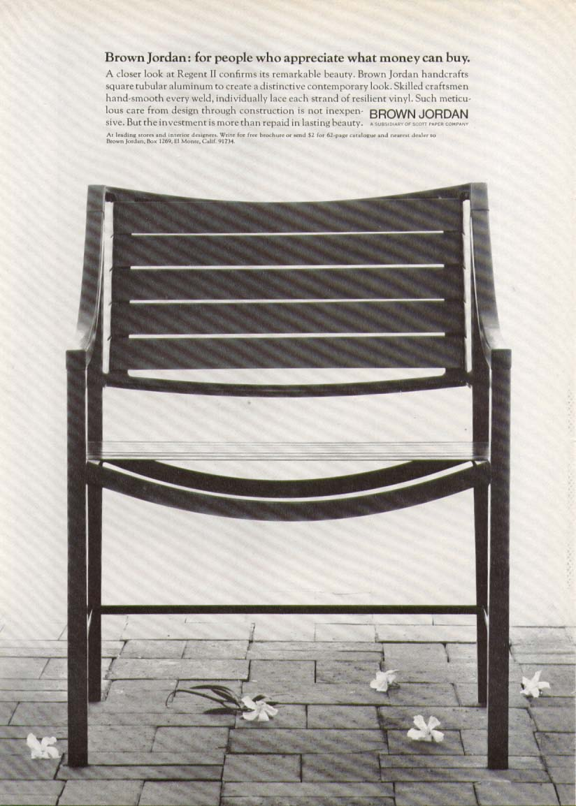 Brown Jordan Regent II tubular aluminum chair ad 1974