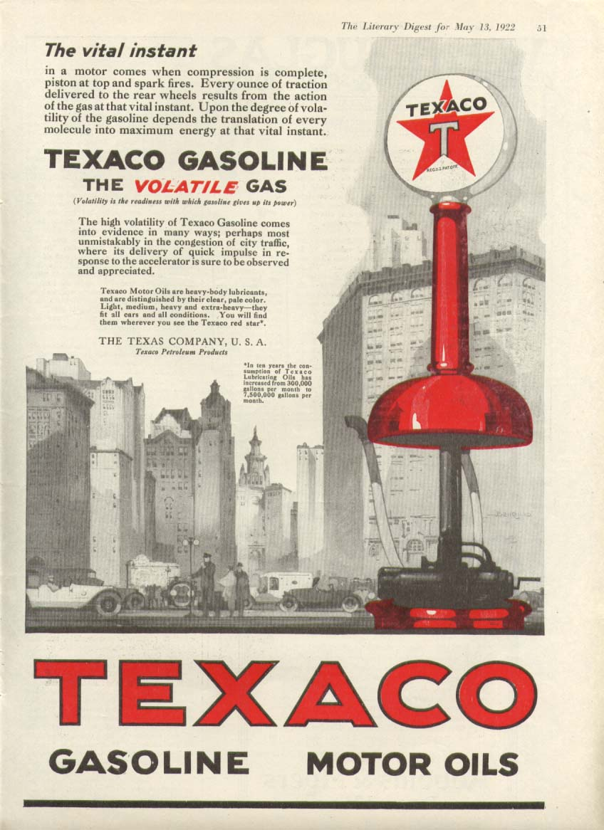 Image for Texaco Gasoline Motor Oils vital instant ad 1922