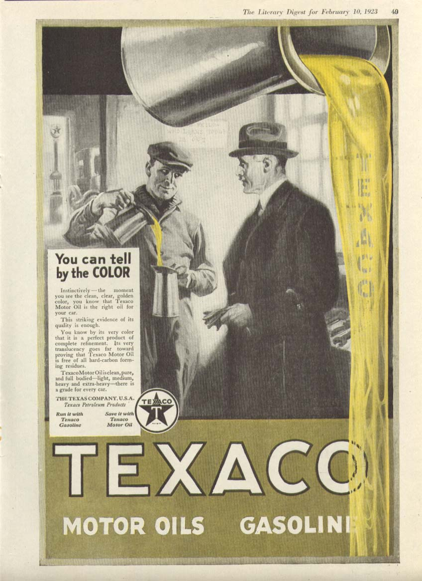 Image for Texaco Motor Oil You can tell by the Color ad 1923