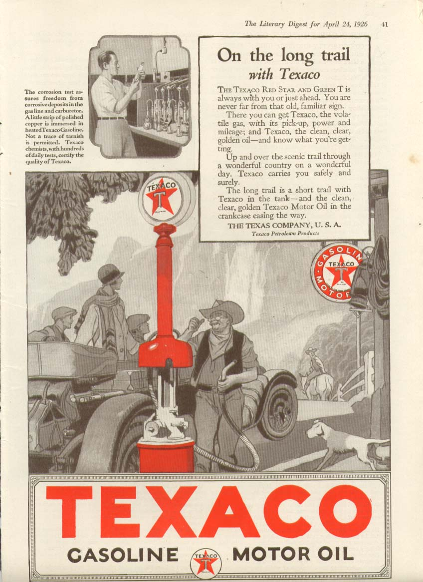 Image for Texaco Gasoline Motor Oil On the long trail ad 1926