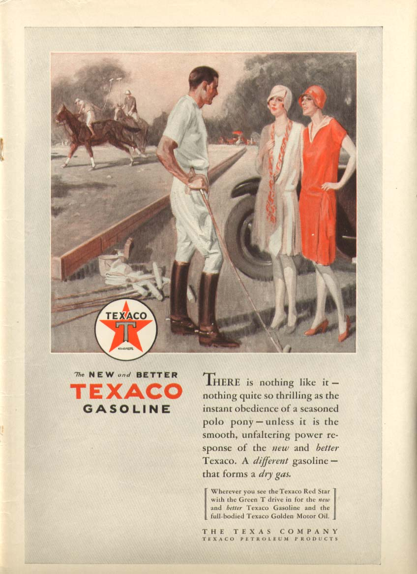Image for Texaco Gasoline New and Better ad 1928
