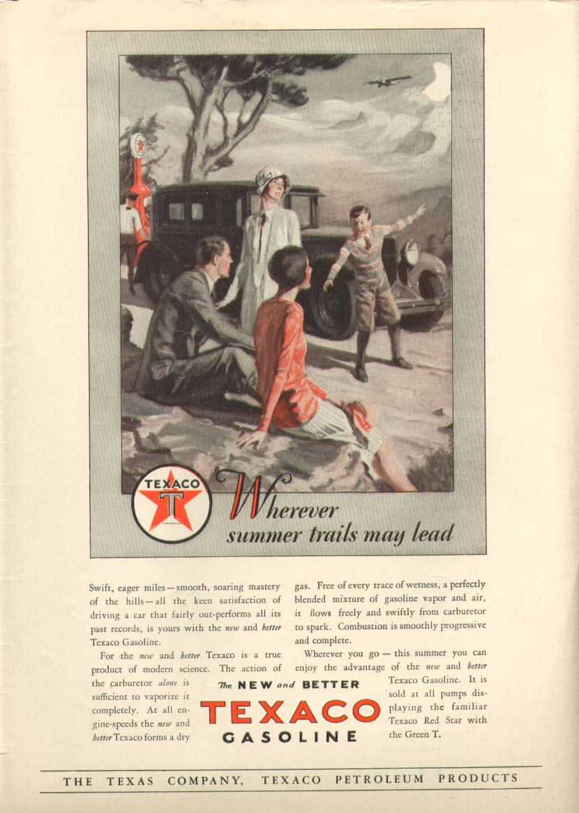 Image for Texaco Gasoline Wherever summer trails may lead ad 1928