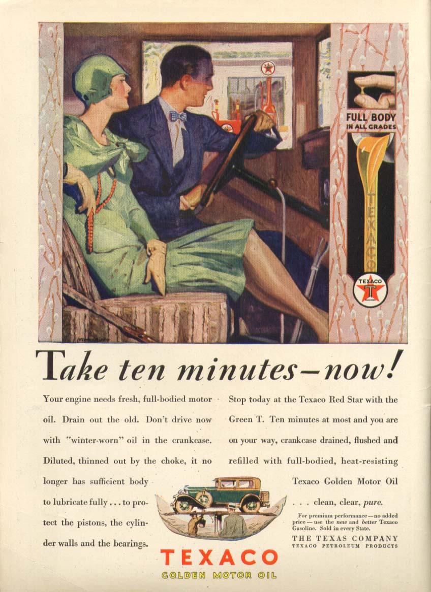 Image for Texaco Golden Motor Oil Take ten minutes now! Ad 1929